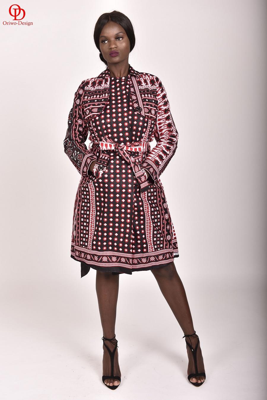 Black- &Red-Printed-Khanga-Lesso-Trench-Coat