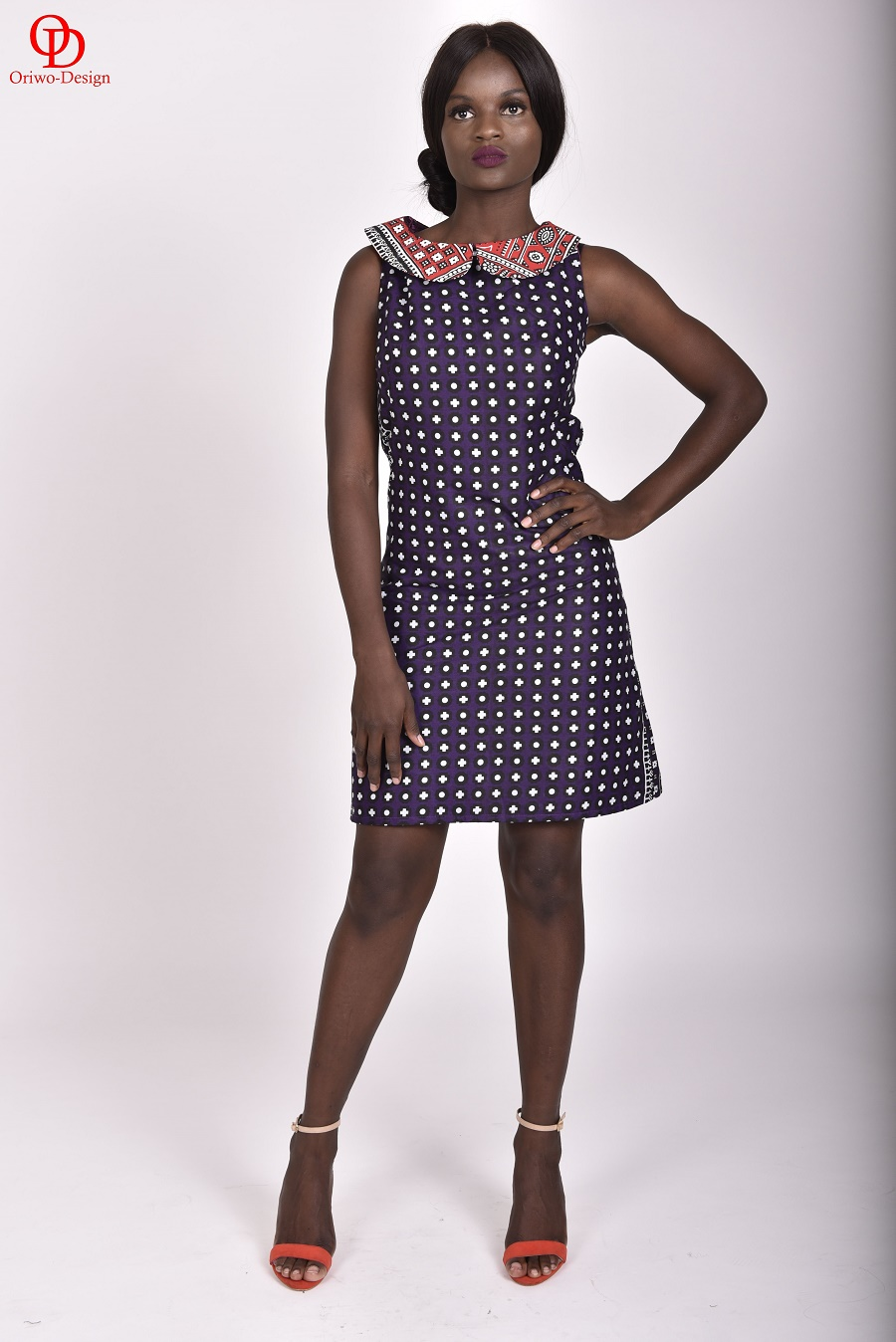 Purple-Printed-Lesso-Khanga-Shift-Dress-with-Red-Printed-Collar