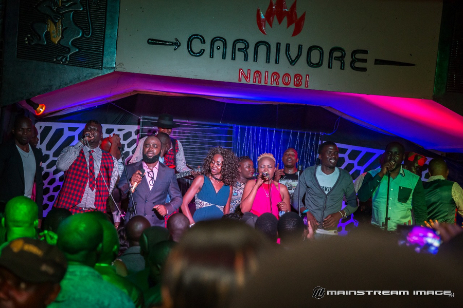 "Johnny Junior and his BV Band on stage during the official launch of ""Dhano Otamo Wang' Nyasaye"" at Carnivore in Nairobi on 7th April 2018"